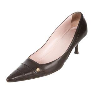 Auth CHANEL pumps / shoes brown kitten heels